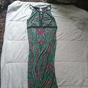 Beautiful INC Embellished Keyhole Maxi Dress